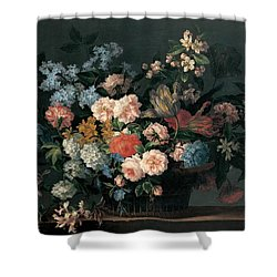 Still Life With Basket Of Flowers Shower Curtain by Jean-Baptiste Monnoyer