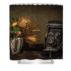 Still Life With Flowers And Camera Shower Curtain