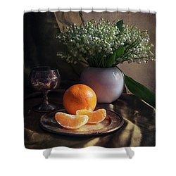 Still Life With Fresh Flowers And Tangerines Shower Curtain by Jaroslaw Blaminsky