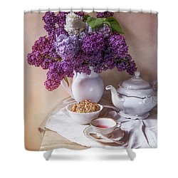 Shower Curtain featuring the photograph Still Life With Fresh Lilac And China Pots by Jaroslaw Blaminsky