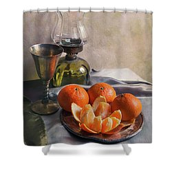 Still Life With Fresh Tangerines And Oil Lamp Shower Curtain by Jaroslaw Blaminsky