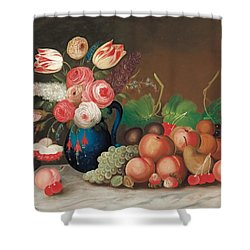 Still Life With Fruit And Flowers Shower Curtain by William Buelow Gould