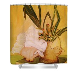 Shower Curtain featuring the pastel Still Life With Funny Sheep by Manuela Constantin