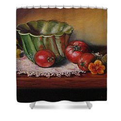 Still Life With Green Bowl Shower Curtain