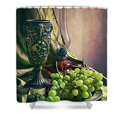 Shower Curtain featuring the photograph Still Life With Green Grapes by Jaroslaw Blaminsky