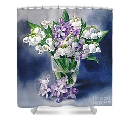 Still Life With Lilacs And Lilies Of The Valley Shower Curtain