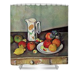 Still Life With Milkjug And Fruit Shower Curtain by Paul Cezanne