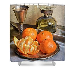 Shower Curtain featuring the photograph Still Life With Oil Lamp And Fresh Tangerines by Jaroslaw Blaminsky