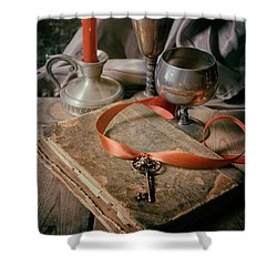 Shower Curtain featuring the photograph Still Life With Old Book And Metal Dishes by Jaroslaw Blaminsky