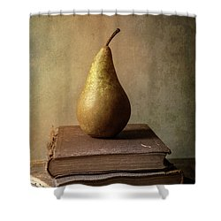 Shower Curtain featuring the photograph Still Life With Old Books And Fresh Pear by Jaroslaw Blaminsky