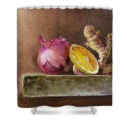 Still Life With Onion Lemon And Ginger Shower Curtain by Irina Sztukowski