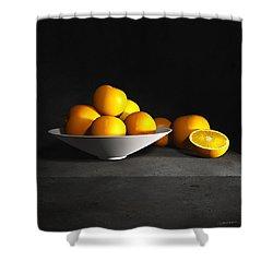 Still Life With Oranges Shower Curtain by Cynthia Decker