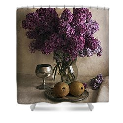Shower Curtain featuring the photograph Still Life With Pears And Fresh Lilac by Jaroslaw Blaminsky