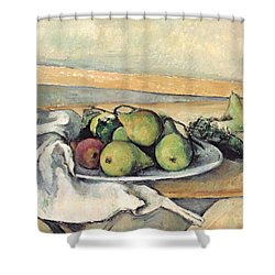 Still Life With Pears Shower Curtain by Paul Cezanne