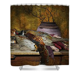 Still Life With Pheasants And Corn Shower Curtain by Jeff Burgess