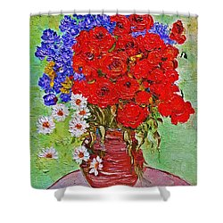 Still Life With Poppies And Blue Flowers Shower Curtain