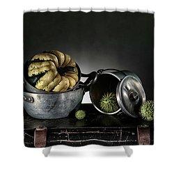 Still Life With Pumpkin Shower Curtain by Nailia Schwarz