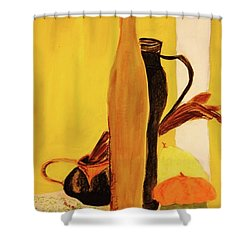 Shower Curtain featuring the pastel Still Life With Pumpkins  by Manuela Constantin