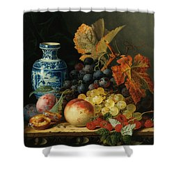 Still Life With Rasberries Shower Curtain by Edward Ladell