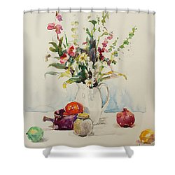 Still Life With Pomegranate Shower Curtain by Becky Kim