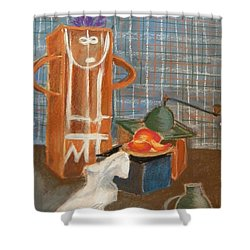 Still Life With Romanian Ceramic Shower Curtain