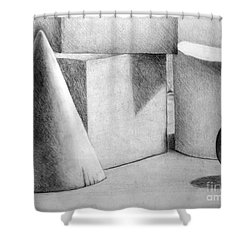 Still Life With Shapes Shower Curtain by Nancy Mueller