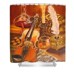 Still Life With Violin And Candle Shower Curtain
