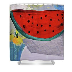 Still Life With Watermelon And Two Lemons Shower Curtain by Amara Dacer