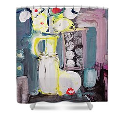 Still Life With White Flowers And Black Table Shower Curtain by Amara Dacer