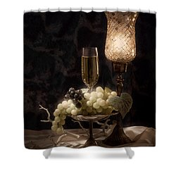 Still Life With Wine And Grapes Shower Curtain by Tom Mc Nemar