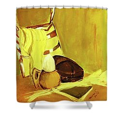 Shower Curtain featuring the pastel Still Life With Wool Socks by Manuela Constantin