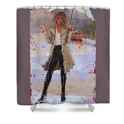 Shower Curtain featuring the painting Still Raining by Laura Lee Zanghetti