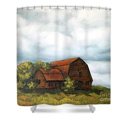 Shower Curtain featuring the painting Still There by Inese Poga