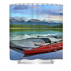 Shower Curtain featuring the photograph Still Waters At Lake Patricia by Tara Turner