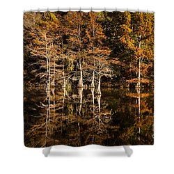 Shower Curtain featuring the photograph Still Waters On Beaver's Bend by Tamyra Ayles