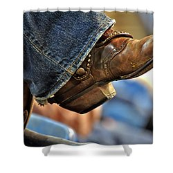 Stock Show Boots I Shower Curtain by Joan Carroll