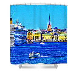 Stockholm Cruise Shower Curtain by Dennis Cox WorldViews