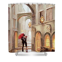 Shower Curtain featuring the painting Stolen Kiss by Steve Henderson