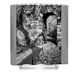 Stone Arch In The Ramble Of Central Park - Bw Shower Curtain
