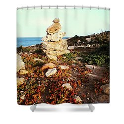 Shower Curtain featuring the photograph Stone Balance by Lucia Sirna