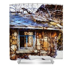 Stone Barn Old Blue Window Shower Curtain by Janine Riley