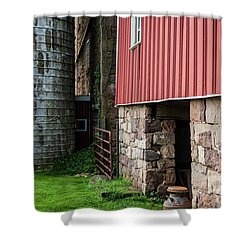 Stone Barn With Milk Can Shower Curtain