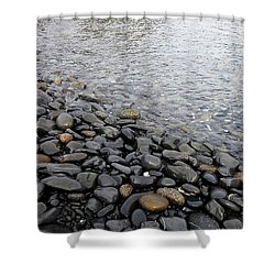 Shower Curtain featuring the photograph Menorca Pebble Beach  by Pedro Cardona