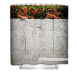 Shower Curtain featuring the photograph Stone Bench With Flowers by Silvia Ganora