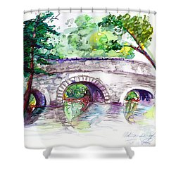 Stone Bridge In Early Autumn Shower Curtain by Melinda Dare Benfield