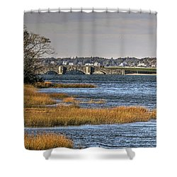 Shower Curtain featuring the photograph Stone Bridge At Mills Gut Colt State Park by Tom Prendergast