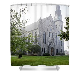 Stone Chapel In Fog Shower Curtain