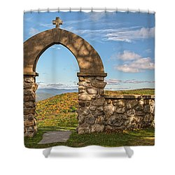 Stone Church In Autumn Shower Curtain