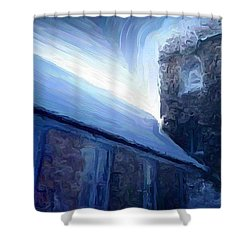 Stone Church Watch Tower Shower Curtain