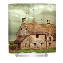 Stone Cottage And Stormy Sky Shower Curtain by Jill Battaglia